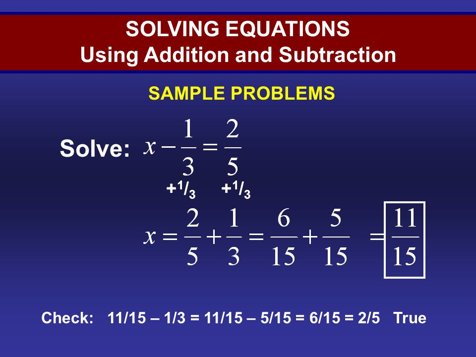 Solving Equations (Sample 5)