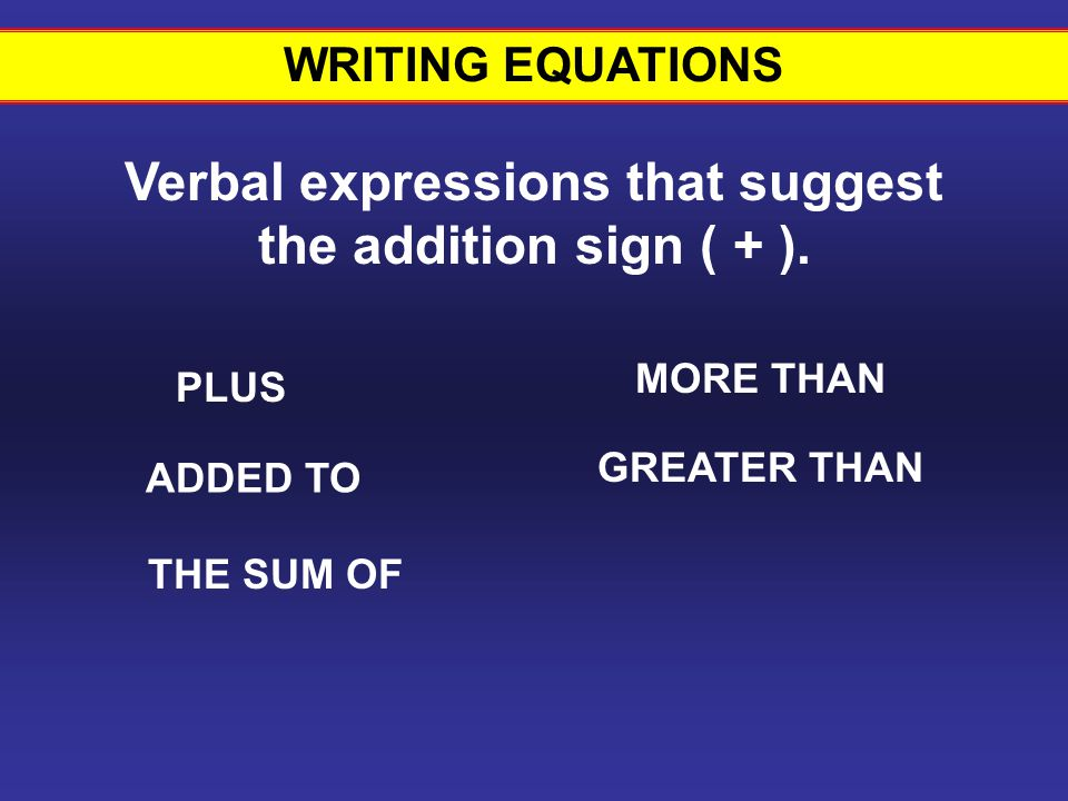 Verbal expressions that suggest the addition sign ( + ).