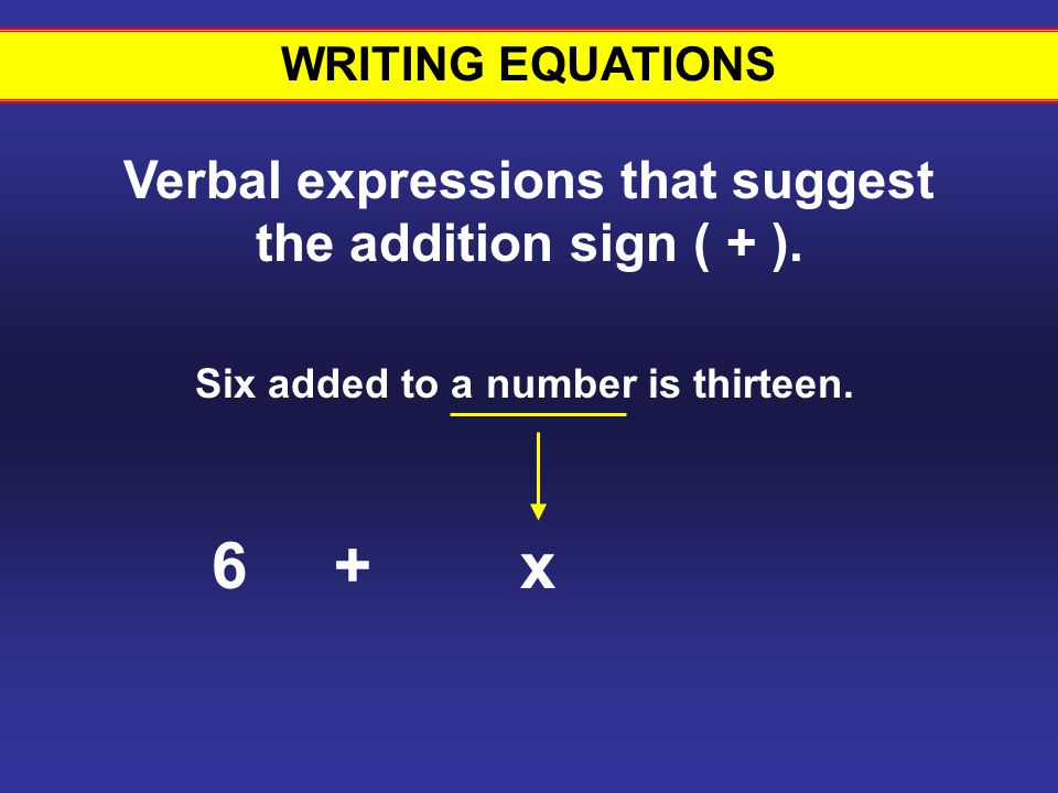 WRITING EQUATIONS Verbal expressions that suggest the addition sign ( + ). Six added to a number is thirteen.