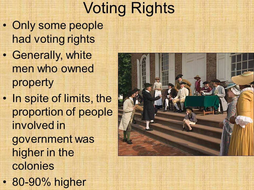Voting Rights Only some people had voting rights