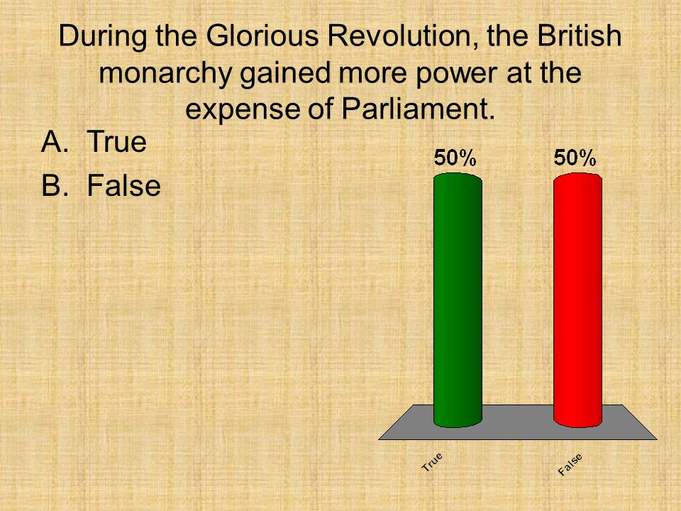 During the Glorious Revolution, the British monarchy gained more power at the expense of Parliament.