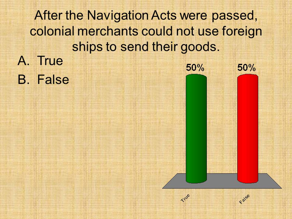 After the Navigation Acts were passed, colonial merchants could not use foreign ships to send their goods.