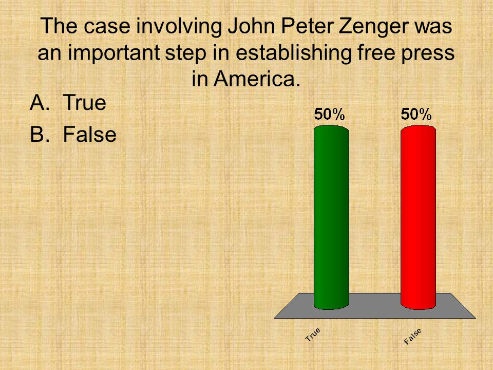 The case involving John Peter Zenger was an important step in establishing free press in America.