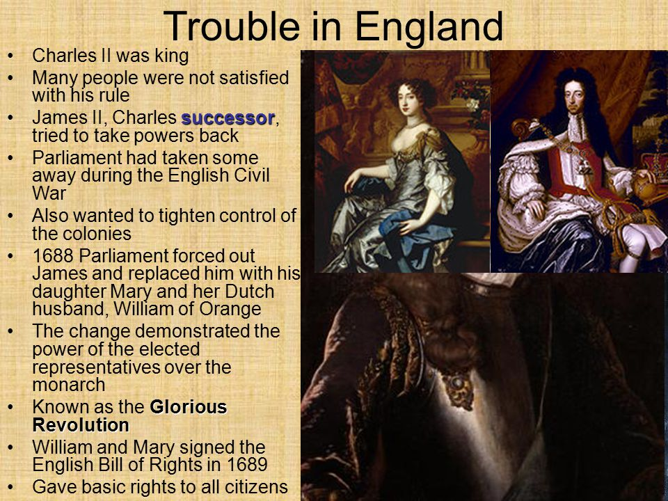 Trouble in England Charles II was king