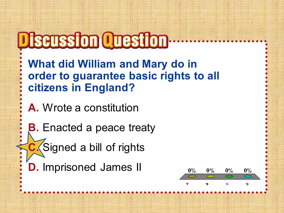 Section 2 What did William and Mary do in order to guarantee basic rights to all citizens in England