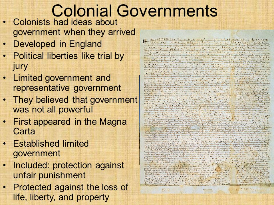 Colonial Governments Colonists had ideas about government when they arrived. Developed in England.