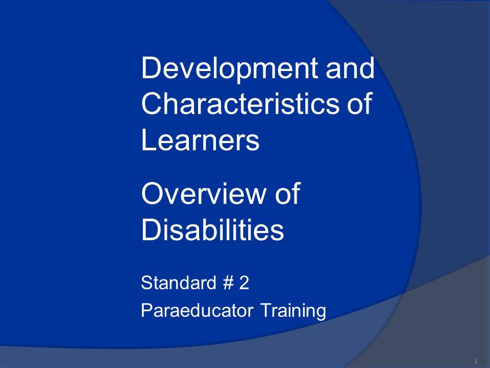 Standard # 2 Paraeducator Training