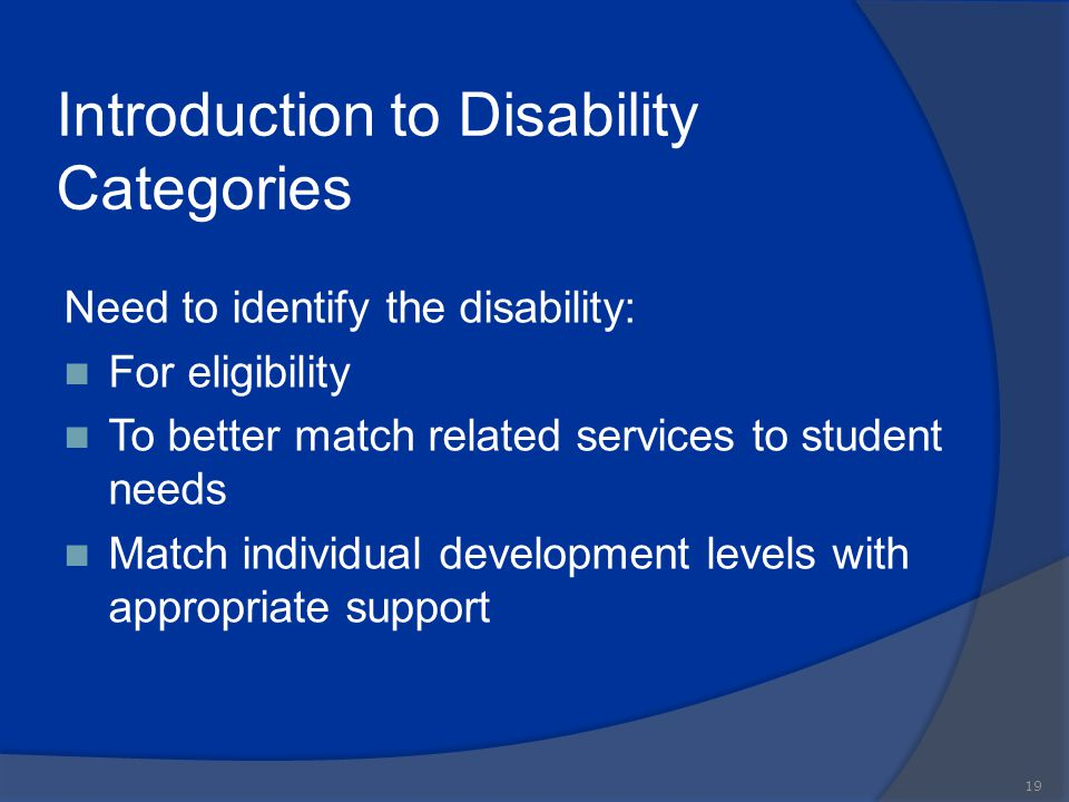 Introduction to Disability Categories