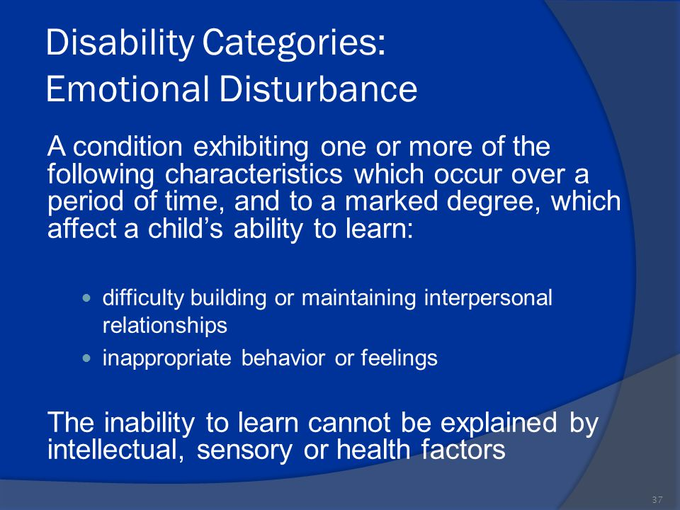 Disability Categories: Emotional Disturbance