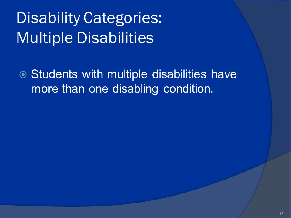Disability Categories: Multiple Disabilities