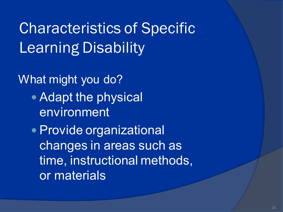 Characteristics of Specific Learning Disability