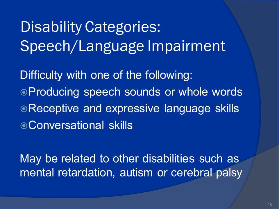 Disability Categories: Speech/Language Impairment