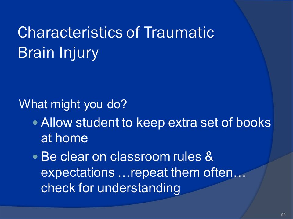 Characteristics of Traumatic Brain Injury