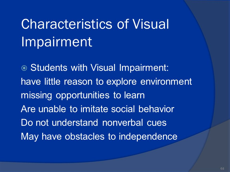 visual impairment issues and strategies Executive function and behavioral problems in students with visual impairments at mainstream and special schools journal of visual impairment in koenig, a j, holbrook, m c (eds), foundations of education: instructional strategies for teaching children and youths with visual impairments (2nd ed, vol 2, pp 55-76.