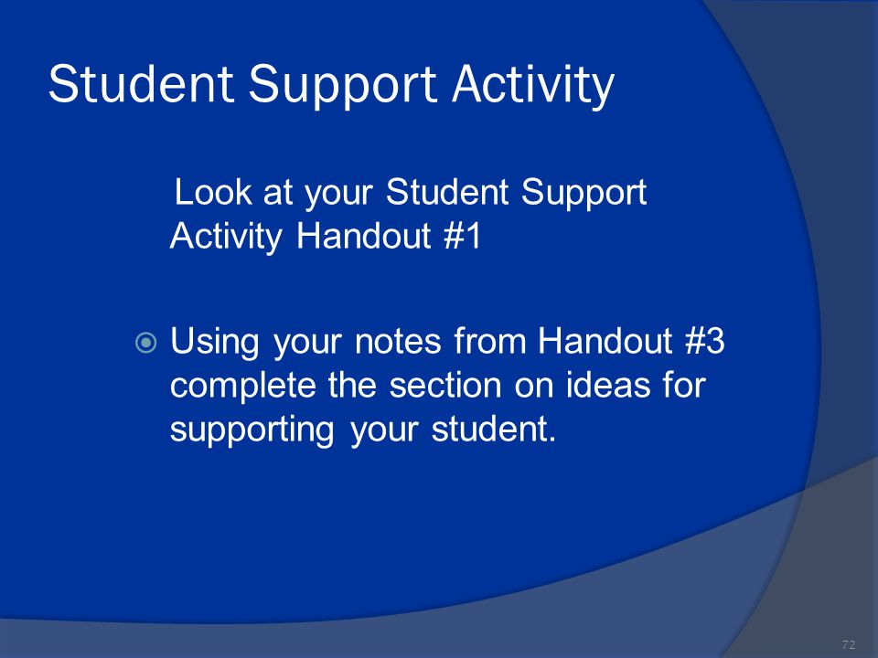 Student Support Activity