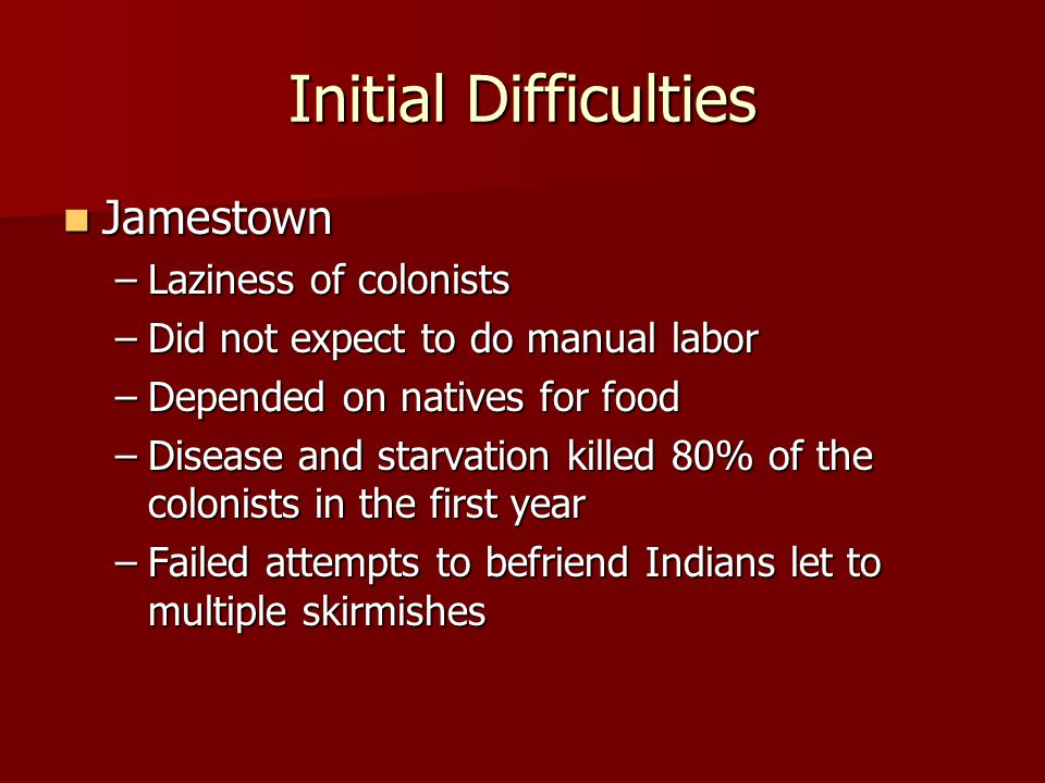 Initial Difficulties Jamestown Laziness of colonists