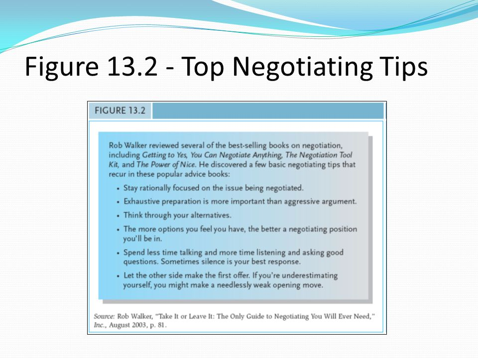 Figure 13.2 - Top Negotiating Tips