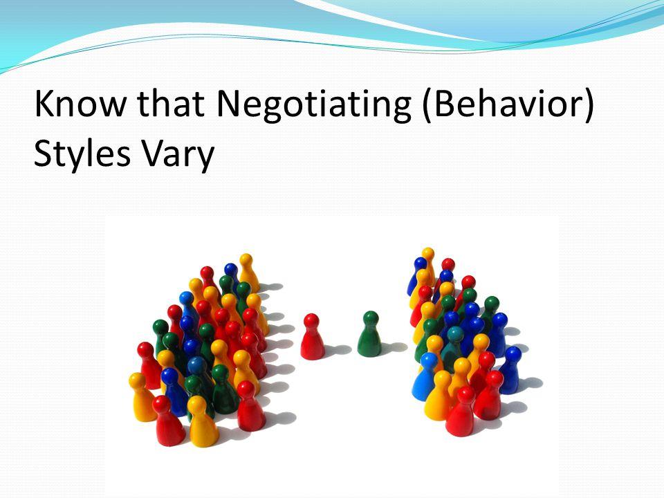 Know that Negotiating (Behavior) Styles Vary