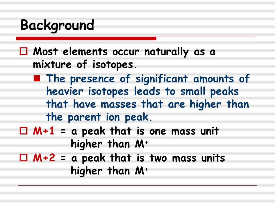 Background Most elements occur naturally as a mixture of isotopes.