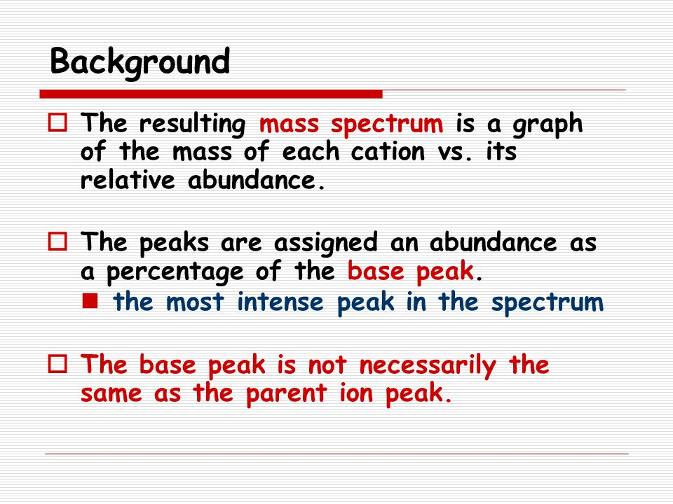 Background The resulting mass spectrum is a graph of the mass of each cation vs. its relative abundance.