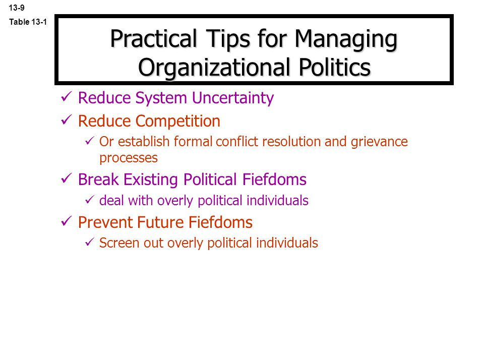 Practical Tips for Managing Organizational Politics