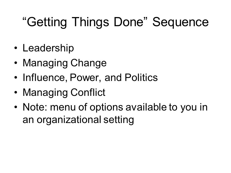 Getting Things Done Sequence