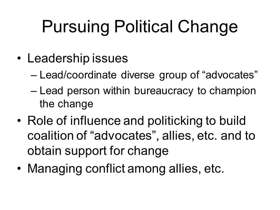 Pursuing Political Change