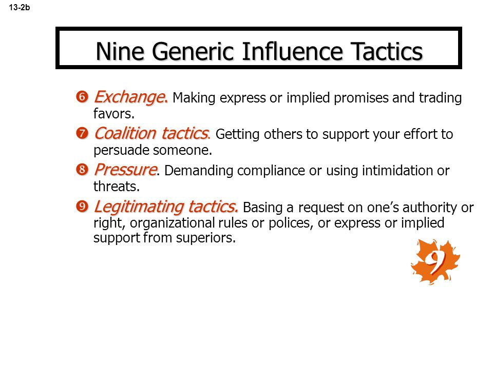 Nine Generic Influence Tactics