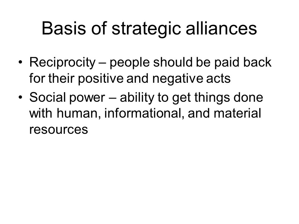 Basis of strategic alliances