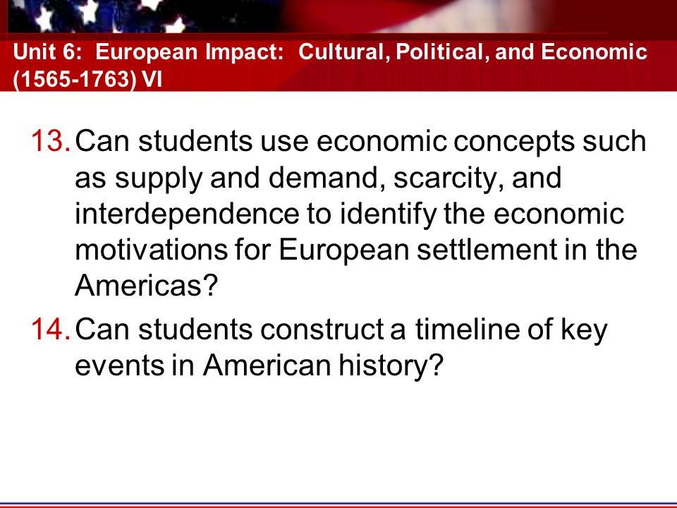 Can students construct a timeline of key events in American history