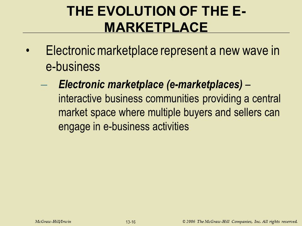 THE EVOLUTION OF THE E-MARKETPLACE