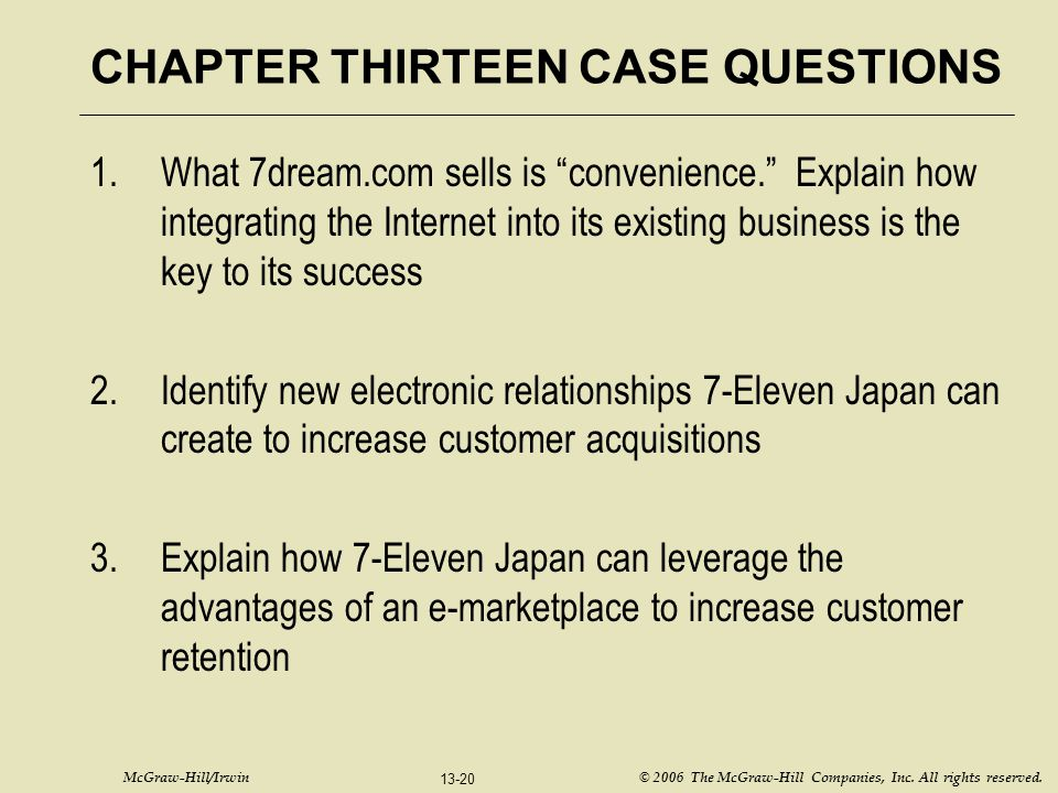 CHAPTER THIRTEEN CASE QUESTIONS