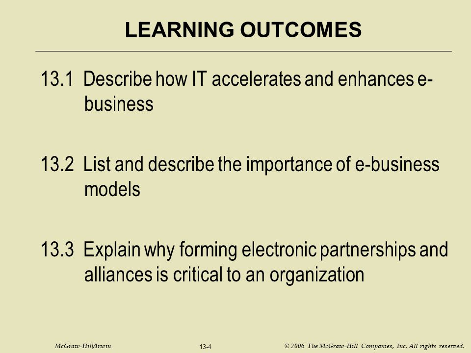 13.1 Describe how IT accelerates and enhances e-business