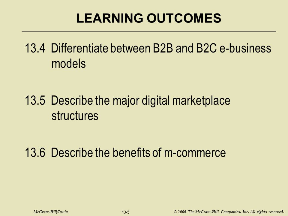 13.4 Differentiate between B2B and B2C e-business models