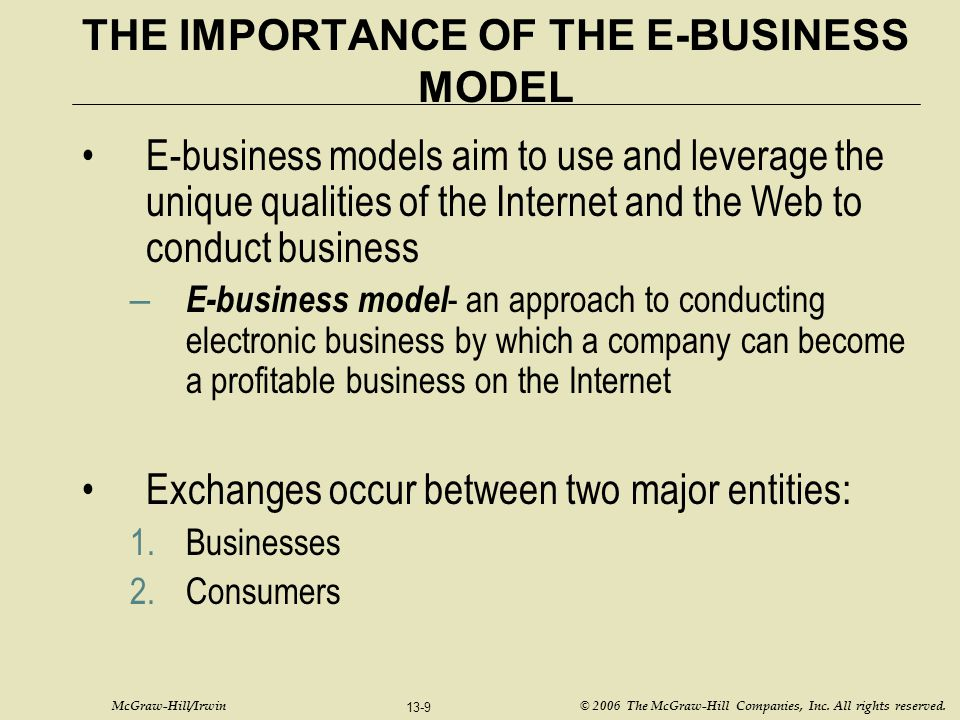 THE IMPORTANCE OF THE E-BUSINESS MODEL