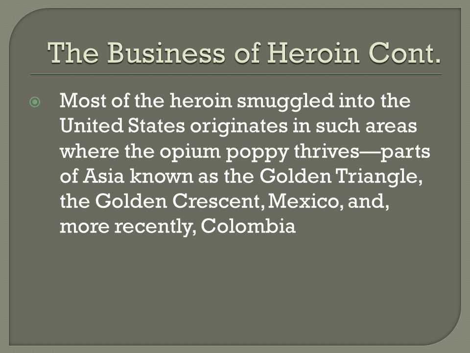 The Business of Heroin Cont.