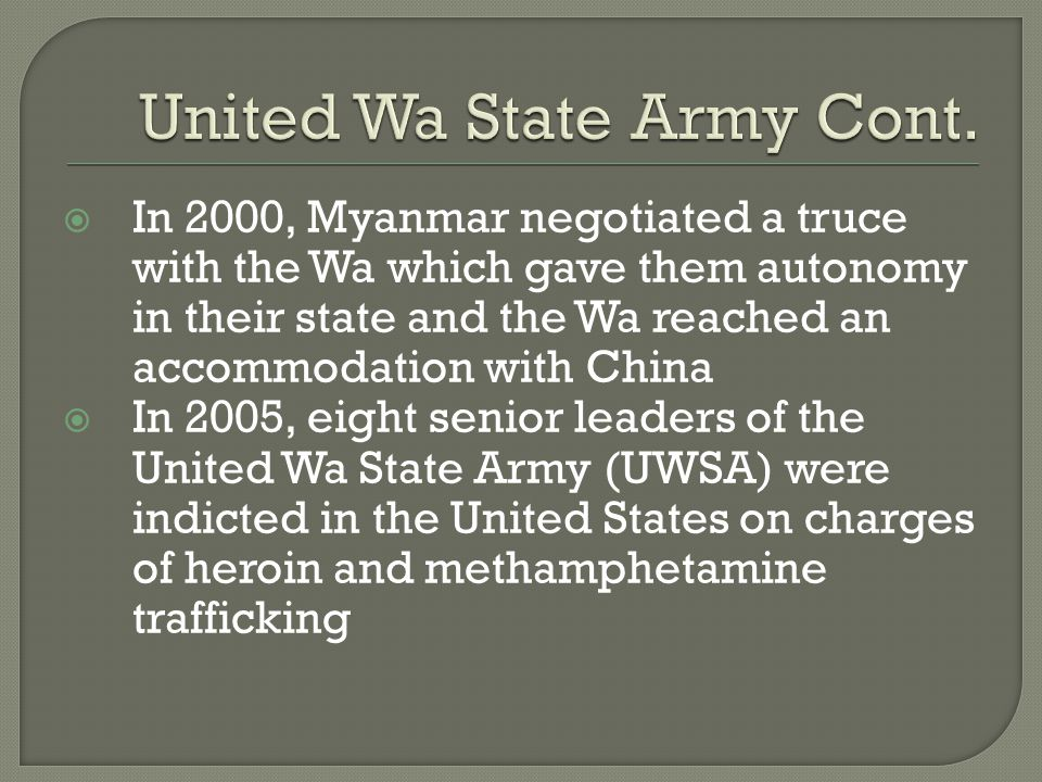 United Wa State Army Cont.