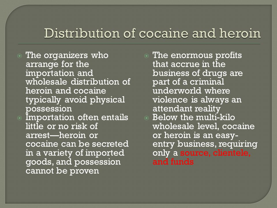 Distribution of cocaine and heroin