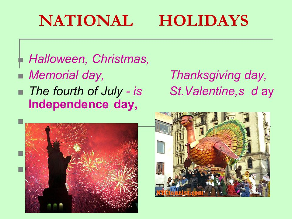 NATIONAL HOLIDAYS Halloween, Christmas,