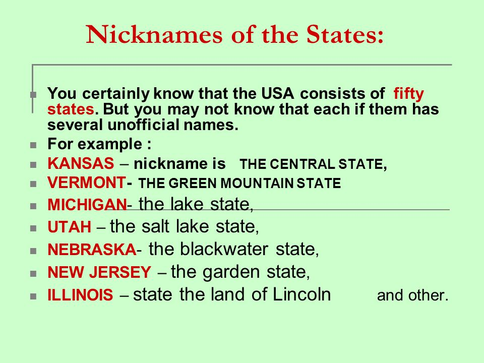 Nicknames of the States: