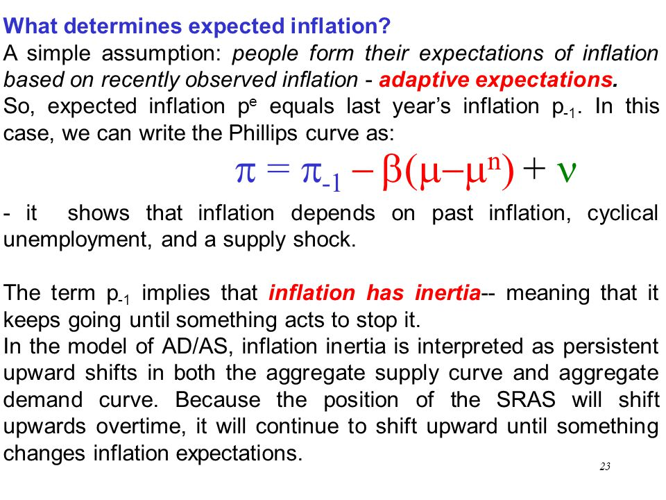 p = p-1 - b(m-mn) + n What determines expected inflation