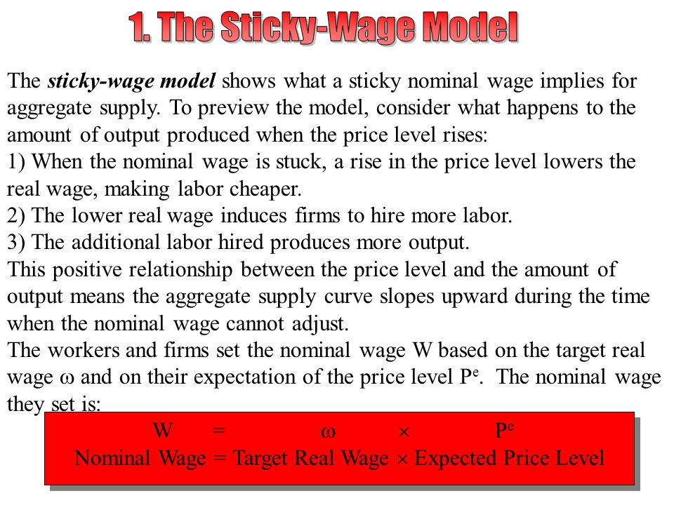 1. The Sticky-Wage Model The sticky-wage model shows what a sticky nominal wage implies for.