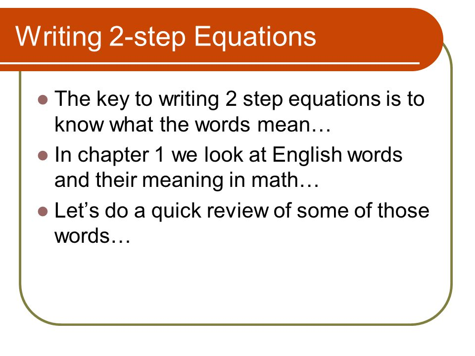 Writing 2-step Equations