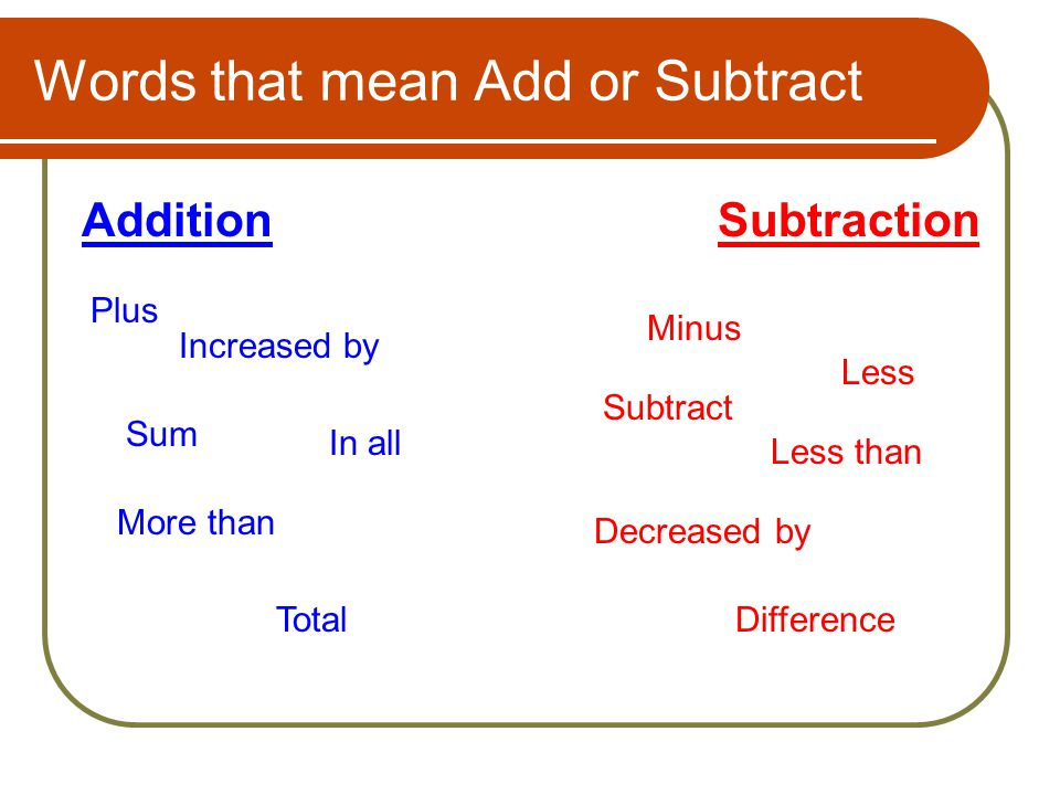 Words that mean Add or Subtract