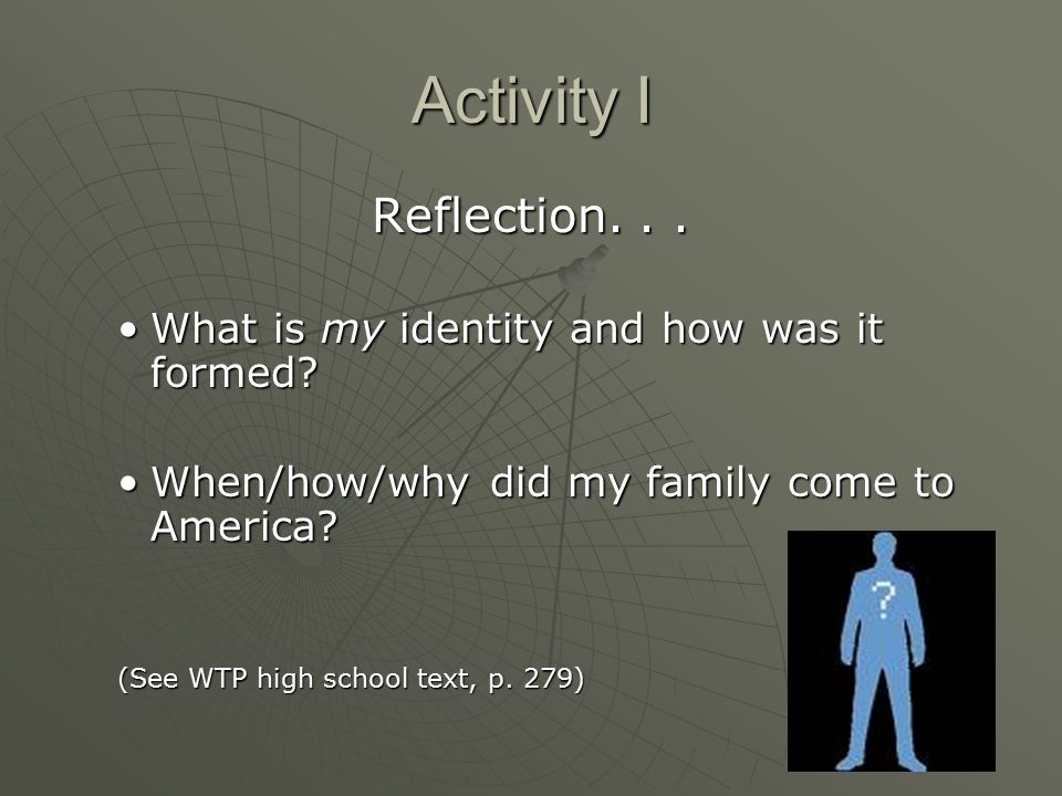 Activity I Reflection. . . What is my identity and how was it formed