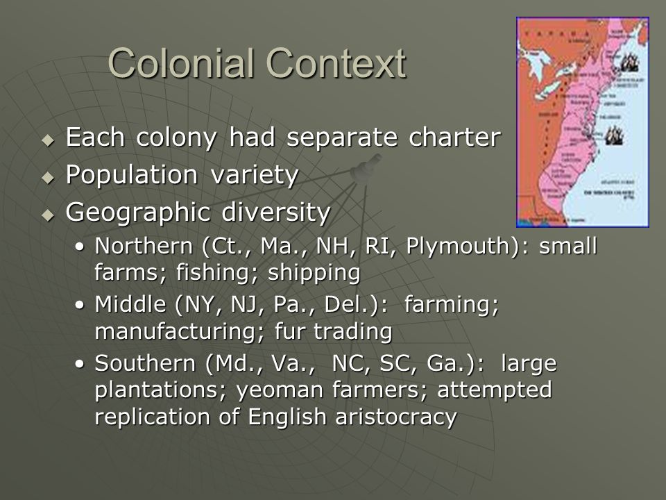 Colonial Context Each colony had separate charter Population variety