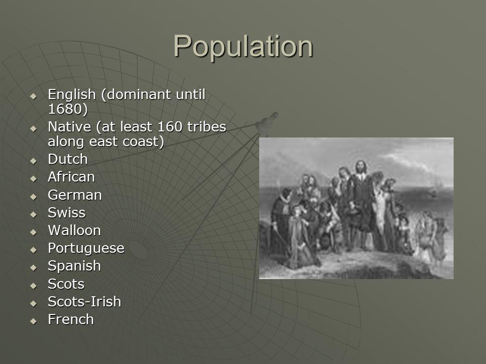 Population English (dominant until 1680)