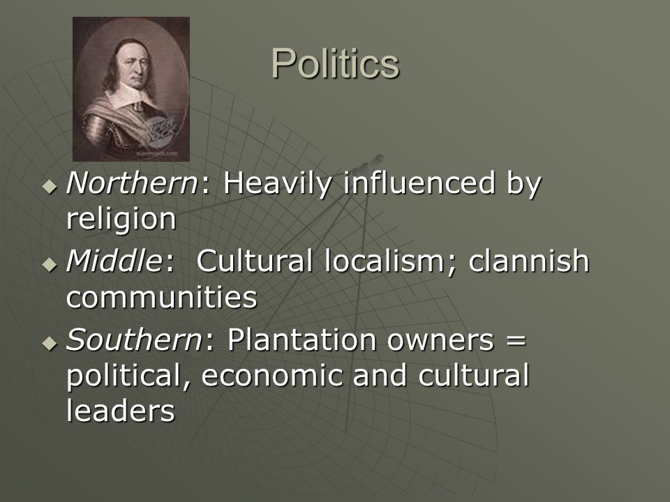 Politics Northern: Heavily influenced by religion
