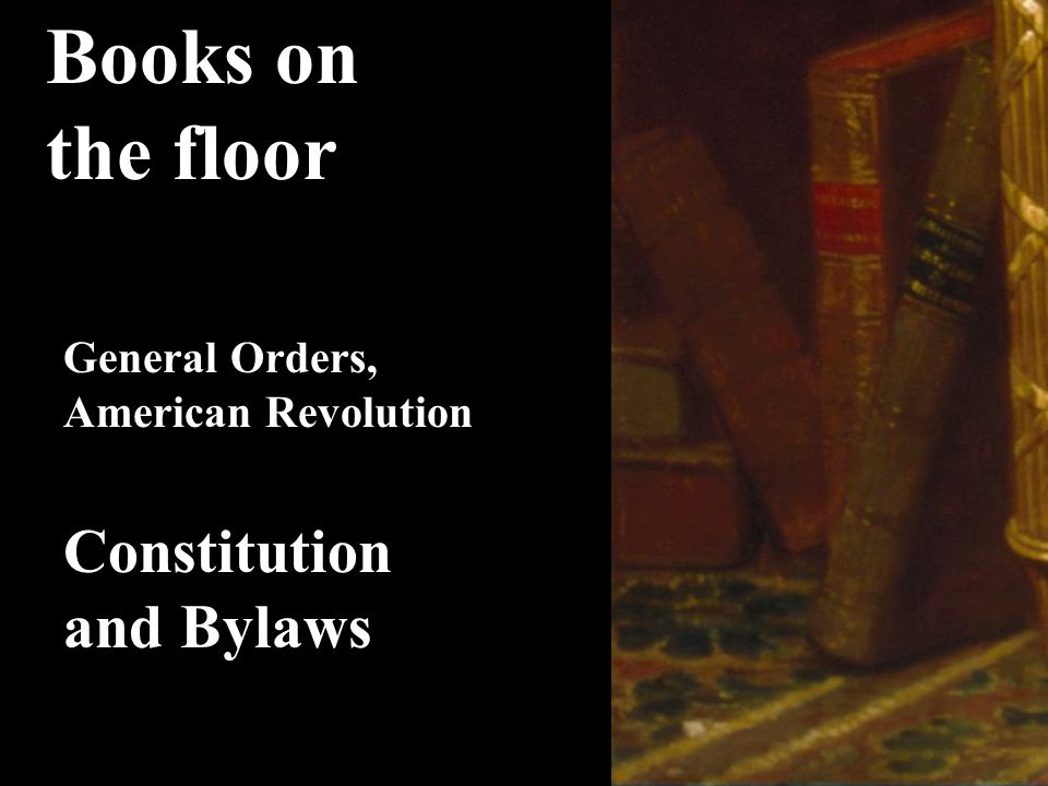 Books on the floor Constitution and Bylaws