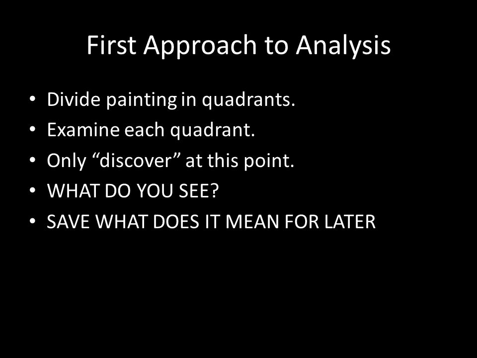 First Approach to Analysis